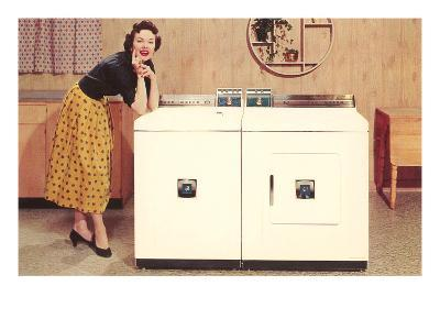 Lady with Washer Dryer, Retro