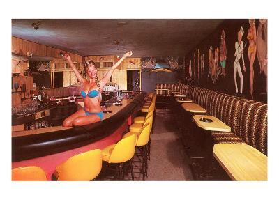 Swedish Girl in Bathing Suit on Bar, Retro