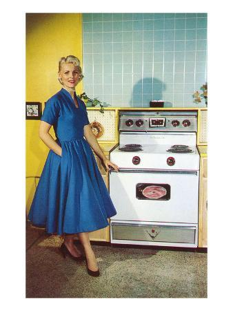 Woman with Electric Stove, Retro