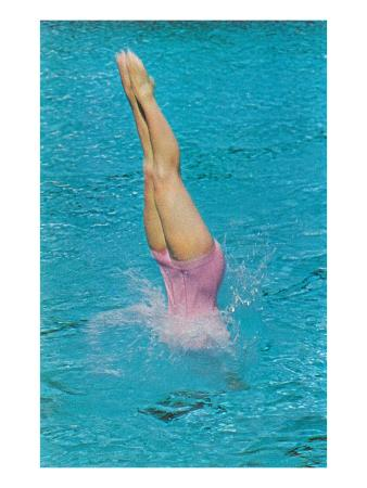 Lady Diving into Pool, Retro