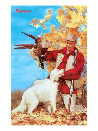 Success, Man with Dead Pheasant and Hunting Dog