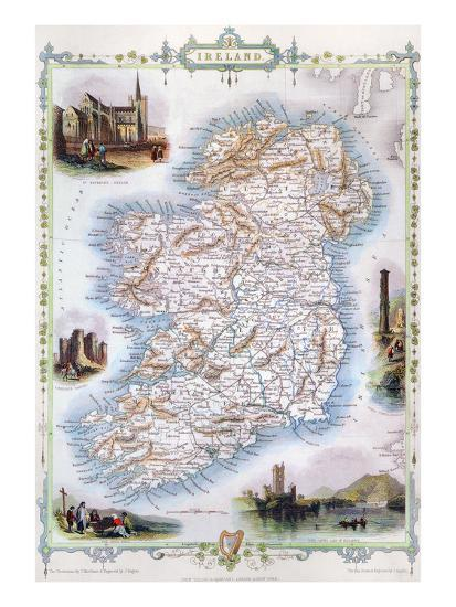Print Map Of Ireland.Map Ireland 1851 Giclee Print At Allposters Com