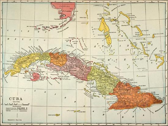 Map 1900.Map Cuba 1900