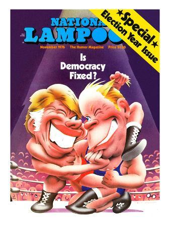 National Lampoon, November 1976 - Is Democracy Fixed? Winking Wrestlers