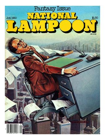 National Lampoon, January 1980 - Fantasy Issue, Desk Flying
