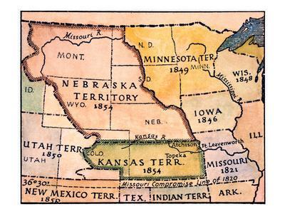 Kansas Nebraska Map 1854 Prints At Allposterscom - 1854-us-map
