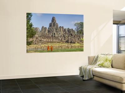 Monks Looking at Bayon Temple, Angkor, Siem Reap, Cambodia