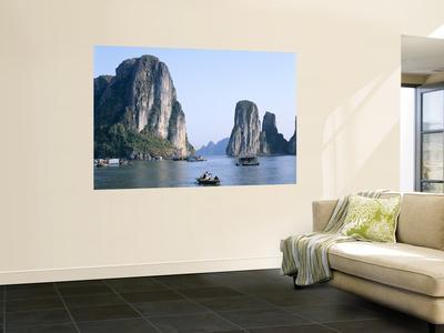 Halong Bay, Karst Limestone Rocks, House Boats, Vietnam