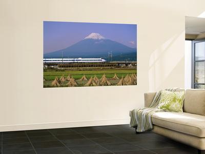 Mount Fuji, Bullet Train and Rice Fields, Fuji, Honshu, Japan