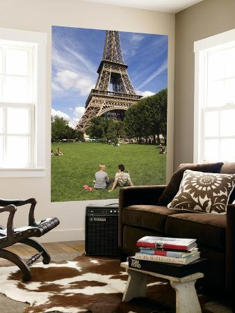People on Lawn in Front of Eiffel Tower