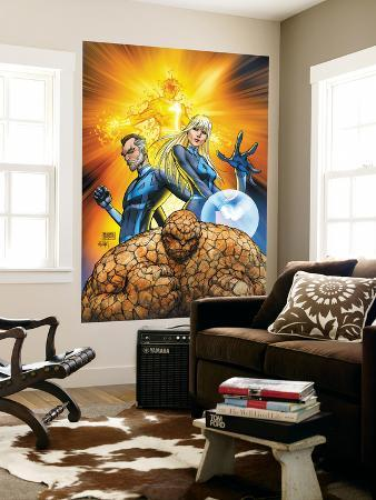 Fantastic Four No.553 Cover: Thing, Mr. Fantastic, Invisible Woman and Human Torch Crouching