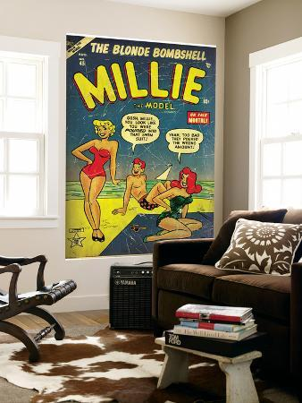 Marvel Comics Retro: Millie the Model Comic Book Cover No.45, in Bathing Suit, at the Beach (aged)