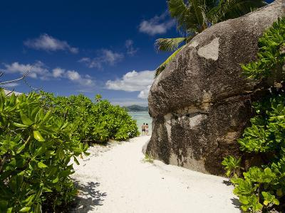 Popular Anse Source D'Agent White Sand Beach, Island of La Digue, Seychelles