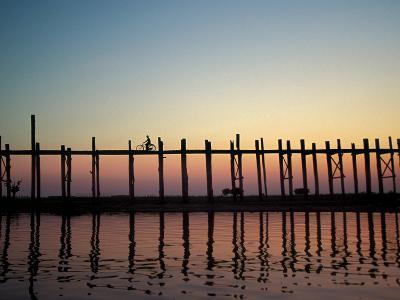 Silhouette of U Bien's Bridge on Lake Taungthaman, Burma