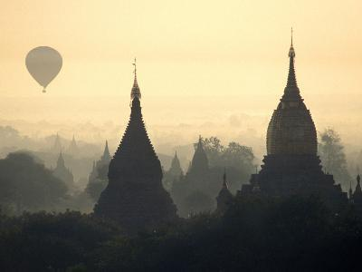 Hot Air Balloon over the Temple Complex of Pagan at Dawn, Burma