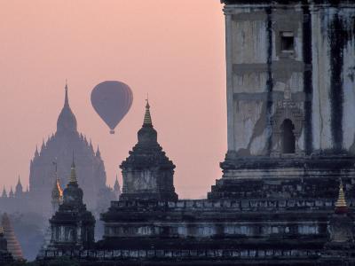 Hot Air Balloon over the Temple Complex of Pagan at Dawn, Burma
