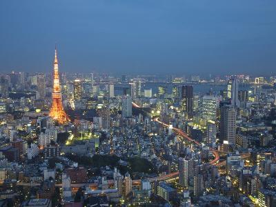 Sunset Aerial of Downtown Including Tokyo Tower and Rainbow Bridge, Tokyo, Japan