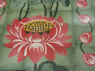 Detail of Temple Lotus Flower Tile Floor, Thai Buddhist Temple, Island of Penang, Malaysia