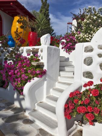 Stairs and Flowers, Chora, Mykonos, Greece