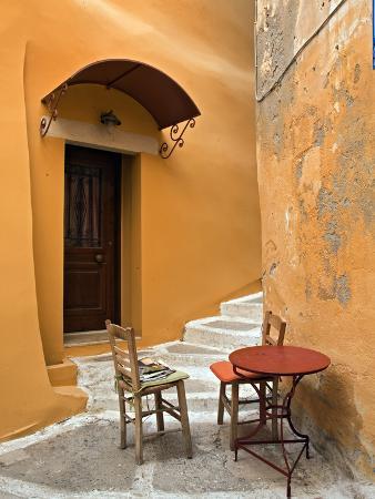 Sidewalk Table Setting, Chania, Crete, Greece