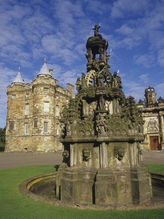 Fountain on the Grounds of Holyroodhouse Palace, Edinburgh, Scotland