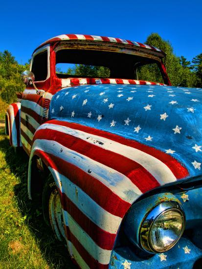 Old Ford Truck Painted With American Flag Pattern