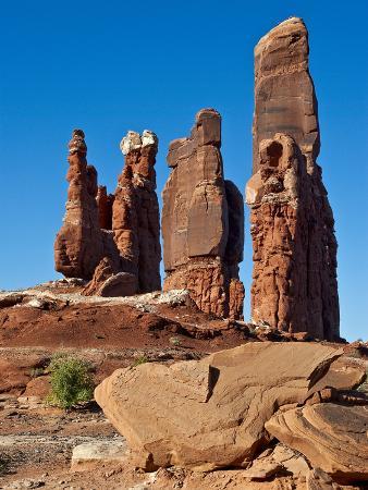 Determination Towers Monolith Group in Courthouse Pasture Northwest of Moab, Moab, Utah, Usa