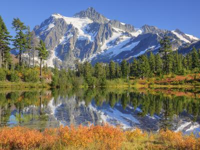 Reflected in Picture Lake, Mt. Shuksan, Heather Meadows Recreation Area, Washington, Usa