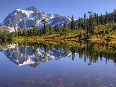 Reflected in Picture Lake, Mt. Shuksan, Heather Meadows Recreation Area, Washington, Usa