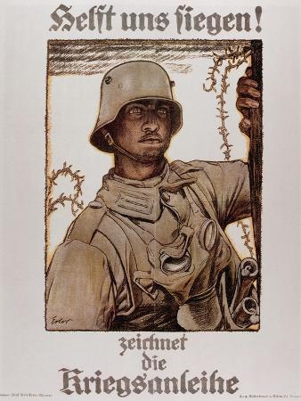 World War I (1914-1918). Poster  Help Us Win  by Fritz Erler (1868-1940)