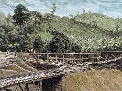 Construction of the Panama Canal. Works in Bridge Called 'Alto-Obispo'