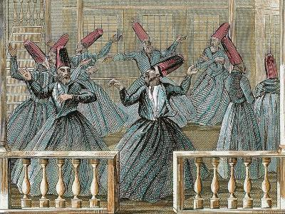 Dance of the Sufi Dervishes, 19th Century Colored Engraving