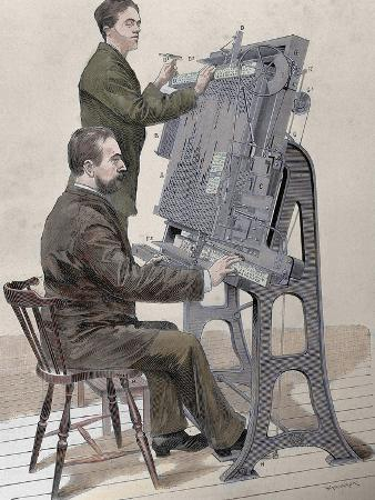 Typographic Composing New Machine by W. Meyer for 'Artistic Illustration', 1885