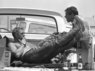 Actor Steve McQueen and Stuntman Bud Ekins During the Mojave Desert Motorcycle Race, May 1963