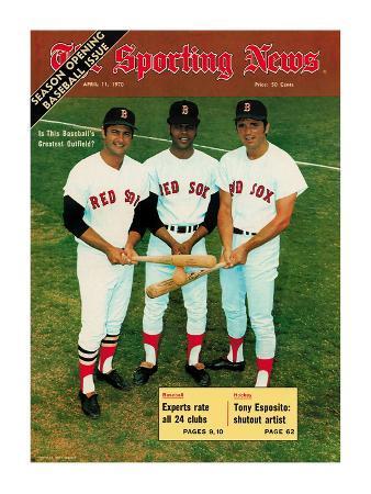 Red Sox OFs Tony Conigliaro, Carl Yastrzemski and Reggie Smith - April 11, 1970