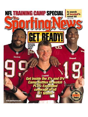 Tampa Bay Buccaneers Warren Sapp, Brad Johnson and Keyshawn Johnson - July 23, 2001