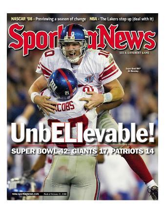 New York Giants Eli Manning and Brandon Jacobs - Super Bowl Champions - February 11, 2008