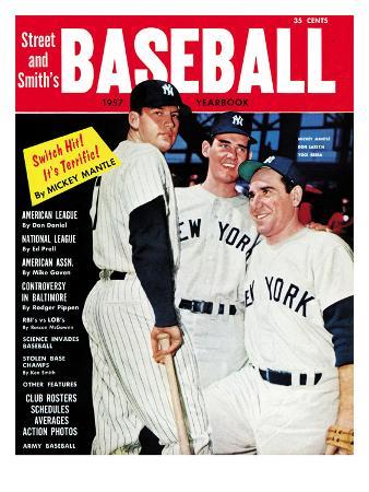New York Yankees Mickey Mantle, Don Larson & Yogi Berra - 1957 Street and Smith