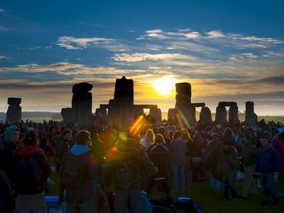 Sunrise at Summer Solstice Celebrations, Stonehenge, Wiltshire, England, Uk