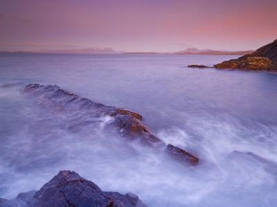 Sunset at Mellon Udrigle, Waves and Rocks, Wester Ross, North West Scotland, United Kingdom, Europe