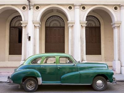 Classic Green American Car Parked Outside the National Ballet School, Havana, Cuba
