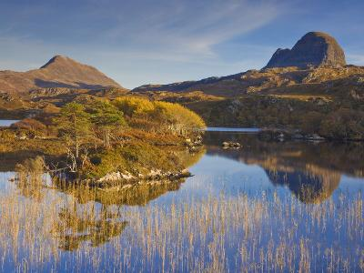 Two Mountains of Suilven and Canisp From Loch Druim Suardalain, Sutherland, North West Scotland