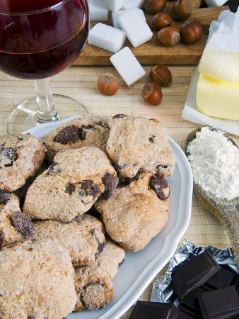 Tozzetti Cookies With Chocolate, Italian Gastronomy, Italy, Europe