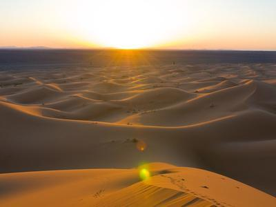Sunset Over Sand Dunes of Merzouga, Morocco, North Africa, Africa