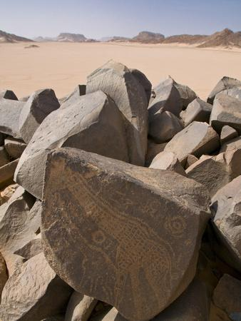 Old Rock Inscriptions in the Tassili N'Ajjer, Sahara, Southern Algeria, North Africa, Africa