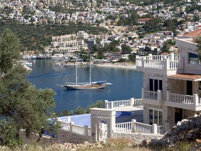 Gulet Anchored at Kalkan, a Popular Tourist Resort, Antalya Province, Anatolia, Turkey