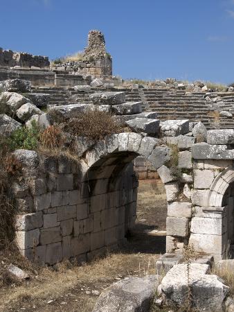 The Amphitheatre at the Lycian Site of Xanthos, Antalya Province, Anatolia, Turkey