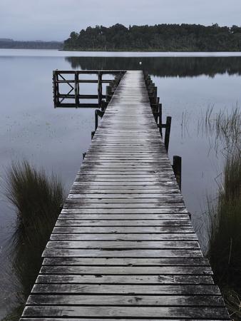 Dock, Shanghai Bay, Lake Mahinapua, West Coast, South Island, New Zealand, Pacific