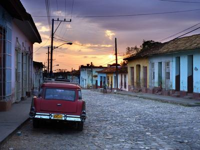 View Along Cobbled Street at Sunset, Trinidad, UNESCO World Hertitage Site, Cuba