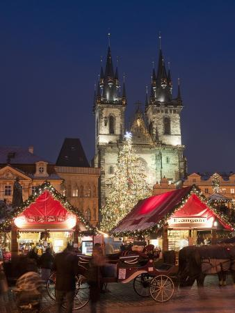 Horse Drawn Carriage at Christmas Market and Gothic Tyn Church at Twilight, Old Town Square, Prague